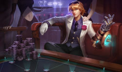1boy 2girls blonde_hair blue_eyes chains debonair_ezreal ezreal flower gloves league_of_legends looking_at_viewer multiple_girls necktie official_art rose single_gauntlet single_glove sitting solo_focus sunglasses sunglasses_on_head tuxedo vest white_gloves