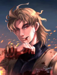 1boy blonde_hair blood blood_from_mouth blood_stain character_name dio_brando gradient_background jojo_no_kimyou_na_bouken male_focus red_eyes signature solo vokbink wrist_cuffs