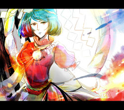 1girl black_skirt blue_hair blue_sky breasts cloud colorful cowboy_shot dots expressionless head_tilt highres letterboxed long_skirt long_sleeves looking_at_viewer mine-shi mirror onbashira parted_lips pointy_nose puffy_short_sleeves puffy_sleeves red_eyes rope shimenawa short_hair short_sleeves skirt sky solo sunlight sunset touhou wind yasaka_kanako