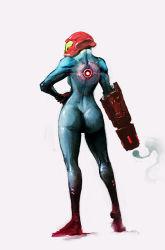 arm_cannon back cobaltplasma helmet highres metroid samus_aran weapon zero_suit
