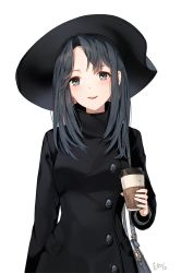 1girl :d bag black_eyes black_hair blush coat cup hat long_hair open_mouth original simple_background smile solo teeth white_background yumaomi