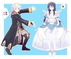 1boy 1girl alternate_costume blue_hair blush boots cloak collaboration dress embarrassed emoticon fire_emblem fire_emblem:_kakusei jisonshin lucina my_unit parody silver_hair simple_background sweatdrop thought_bubble tiara wedding_dress