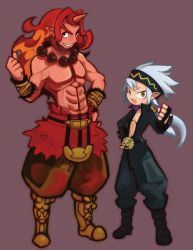 2boys boots choker clenched_hand disgaea fingerless_gloves gloves grey_hair grin hand_on_hip headband horn kazamine_(stecca) long_hair makai_senki_disgaea_5 male multiple_boys muscle pants ponytail purple_background red_hair red_magnus red_skin shirtless smile standing thumbs_up yellow_eyes zeroken_(disgaea)
