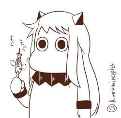 (o)_(o) chewing commentary eating fish horns kantai_collection mittens monochrome moomin muppo northern_ocean_hime northern_ocean_hime_(cosplay) sazanami_konami shinkaisei-kan simple_background twitter_username