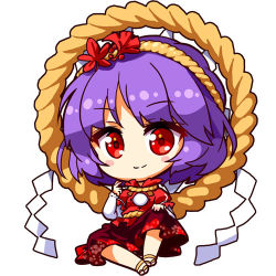 1girl chibi eyebrows_visible_through_hair ginkgo_leaf hair_ornament hairband hand_on_own_knee layered_clothing leaf leaf_hair_ornament long_sleeves looking_at_viewer lowres maple_leaf puffy_short_sleeves puffy_sleeves purple_hair red_eyes red_shirt red_skirt renren_(ah_renren) rope sandals shimenawa shinobu_shinobu shirt short_hair short_sleeves simple_background sitting skirt smile solo touhou white_background yasaka_kanako
