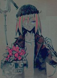 1girl bandage bandaged_head bandaid black_hat blonde_hair collarbone die_(die0118) eyebrows_visible_through_hair eyepatch female flip_flappers flower flower_pot frown hand_up hat holding intravenous_drip jacket jpeg_artifacts looking_to_the_side multicolored_hair partially_colored plant purple_eyes robot short_hair solo streaked_hair upper_body yayaka