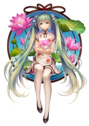 1girl china_dress chinese_clothes double_bun dress flower full_body green_eyes green_hair hatsune_miku head_tilt highres long_hair looking_at_viewer sitting solo thighhighs tidsean twintails very_long_hair vocaloid