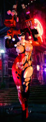 1girl 3d batman_(series) black blue_eyes bodysuit breasts dc_comics dice exhibitionism fit gloves harley_quinn jester_cap lips makeup mask nipples nude pink red smile street tagme tan torn_clothes uncensored weapon wet white