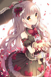 1girl black_dress blonde_hair bow detached_sleeves dress flower gloves hair_ornament hat ikari_(aor3507) lolita_fashion long_hair looking_at_viewer mayu_(vocaloid) parasol petals rose smile solo stuffed_animal stuffed_toy umbrella vocaloid yandere yellow_eyes