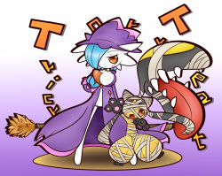 alternate_color alternate_costume animal_ears bandage black_hair blue_hair breasts cleavage concave gardevoir halloween hat large_breasts mawile mismagius_(cosplay) nintendo no_humans orange_eyes pokemon red_eyes shiny_pokemon witch_hat