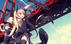 2girls bird black_hair blonde_hair bridge dragon from_below highres kyuri_(405966795) long_hair multiple_girls outdoors red_eyes seagull sky thighhighs twintails