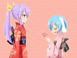 2girls alternate_costume animal_ears blue_hair bow bunny_ears eyes_closed floral_print hair_bow hands_clasped japanese_clothes kimono long_hair multiple_girls open_mouth ponytail purple_hair reisen short_hair smile sweatdrop ten203159 touhou watatsuki_no_yorihime