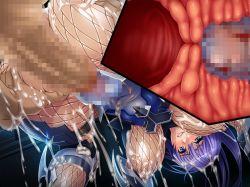 1girl asagiri ass bodysuit breasts censored clothed_sex cum cum_on_body fishnets large_breasts latex long_hair ninja penis purple_hair rape sex smirk suiren_izumi tagme taimanin_asagi taimanin_asagi_battle_arena vaginal x-ray