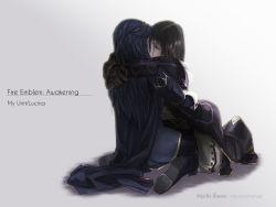 1boy 1girl black_hair blue_hair carlmary couple eyes_closed fire_emblem fire_emblem:_kakusei hetero highres hug kiss long_hair lucina lucina_(fire_emblem) male_my_unit_(fire_emblem:_kakusei) my_unit_(fire_emblem:_kakusei) short_hair trap