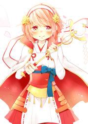 1girl blush cape fire_emblem fire_emblem_if highres petals pink_eyes pink_hair rui1123 sakura_(fire_emblem_if) simple_background solo staff white_background