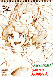 2girls animal_ears artist_name bunny_ears carrot carrot_necklace dated dress eyes_closed inaba_tewi long_hair mittens monochrome multiple_girls open_mouth outstretched_arms reisen_udongein_inaba savan short_hair sketch smile snowflakes thank_you touhou traditional_media
