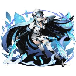 1girl absurdly_long_hair akame_ga_kill! belt blue_eyes blue_hair boots breasts cleavage collarbone crystal_sword divine_gate esdeath full_body grin hair_between_eyes hat holding holding_sword holding_weapon ice long_hair medium_breasts military military_hat military_uniform official_art pleated_skirt shadow skirt smile solo sword tattoo thigh_boots thighhighs transparent_background ucmm uniform very_long_hair weapon white_boots