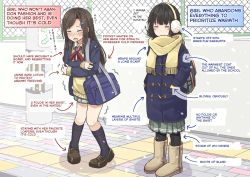 2girls backpack bag black_hair blazer blush boots brown_hair brown_shoes coat cold crossed_arms earmuffs eyes_closed hands_in_pockets hard_translated highres jpeg_artifacts kneehighs long_hair mikkii multiple_girls navy_blue_legwear original pantyhose scarf school_bag school_uniform shoes skirt translated trembling truth upscaled waifu2x