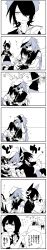 3girls 4girls 4koma anger_vein angry black_hair book braid comic couch eyepatch flying_sweatdrops hat headgear highres isonami_(kantai_collection) kaga3chi kantai_collection kiso_(kantai_collection) long_image multiple_girls newspaper reading saliva saliva_trail scarf sendai_(kantai_collection) short_hair skirt sleeping sleeves_rolled_up tall_image tenryuu_(kantai_collection) thighhighs translation_request twintails zzz