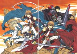 3boys absurdres armor black_hair blonde_hair brown_eyes brown_hair clamp dual_persona fay_d_flourite gauntlets highres holding holding_sword holding_weapon katana kurogane_(tsubasa_chronicle) looking_at_viewer multiple_boys outdoors ribbon short_hair sword tsubasa_chronicle weapon white_ribbon xiaolang