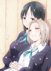 2girls akiyama_mio black_eyes black_hair brown_eyes brown_hair gensokigou k-on! long_hair multiple_girls school_uniform short_hair tainaka_ritsu