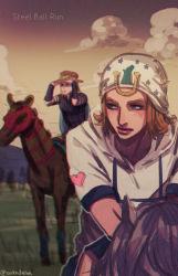 2boys blonde_hair blurry depth_of_field hat horse johnny_joestar jojo_no_kimyou_na_bouken multiple_boys rin2010 steel_ball_run