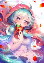 1girl ahoge apple aqua_hair blue_n food fruit hatsune_miku long_hair open_mouth skirt solo twintails vocaloid