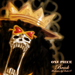 afro black_hair brook character_name copyright_name crown one_piece open_mouth skeleton skull solo