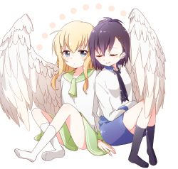 2girls ahoge angel_wings animal_band arm_support bafarin black_legwear blonde_hair blue_eyes blush commentary_request feathered_wings gabriel_dropout green_skirt highres multiple_girls necktie no_shoes purple_hair sailor_collar side-by-side skirt sleeping sleeping_on_person smile tenma_gabriel_white tsukinose_vignette_april white_legwear white_wings wings yuri
