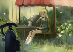 1girl artist_name ascot blonde_hair book butterfly cup dated flower garden glasses kanokoga long_hair military military_uniform no_legwear outdoors perrine_h_clostermann pump reading shade sitting solo strike_witches teacup teapot uniform world_witches_series yellow_eyes