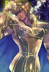 1boy armor armpit_hair full_armor leo_aiolia male_focus red_eyes saint_seiya solo