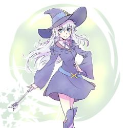1girl blue_eyes boots braid commentary cosplay diana_cavendish diana_cavendish_(cosplay) earrings hat hikasa_youko iesupa jewelry little_witch_academia rwby scar seiyuu_connection solo wand weiss_schnee white_hair witch_hat