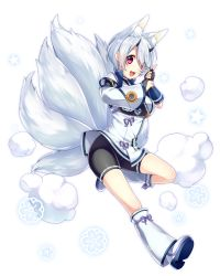 1girl :d absurdres animal_ears bangs bike_shorts black_gloves black_shorts character_request eyebrows eyebrows_visible_through_hair fingerless_gloves fox_ears fox_tail full_body gloves hair_over_one_eye head_tilt highres horns japanese_clothes leg_up long_sleeves multiple_tails open_mouth phantasy_star phantasy_star_online_2 red_eyes sakura_chiyo_(konachi000) short_hair shorts silver_hair smile smoke solo star swept_bangs tail transparent_background