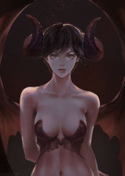 1girl arm_behind_back bare_shoulders black_hair breasts bustier caesty collarbone demon_girl demon_horns demon_wings eyelashes green_eyes horns lips looking_at_viewer medium_breasts navel original parted_lips short_hair solo upper_body wings