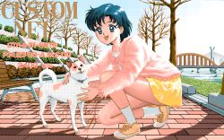 1girl 90s :d ad bare_tree bbs bench bishoujo_senshi_sailor_moon blue_eyes blue_hair bridge cardigan dithering dog ducking happy miniskirt mizuno_ami open_mouth park pixel_art rex shoes short_hair skirt smile sneakers socks solo telephone_number tree yellow_skirt
