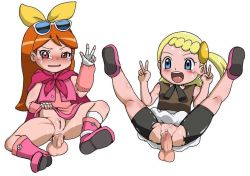 2girls :d anal bike_shorts blonde_hair blue_eyes blush clitoris clothed_sex decensored disembodied_penis double_v eureka_(pokemon) eyebrows full_body happy_sex hina_(pokemon) kneepits legs loli long_hair looking_at_viewer multiple_girls multiple_penises no_panties open_mouth orange_hair penis pink_eyes pokemon pokemon_(anime) pussy refuto sex shiny shiny_hair shiny_skin short_hair side_ponytail simple_background smile spread_legs sweat tears testicles thighs torn_clothes v vaginal white_background