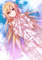1girl asuna_(sao) breastplate brown_eyes brown_hair dutch_angle jianmo_sl long_hair sword_art_online