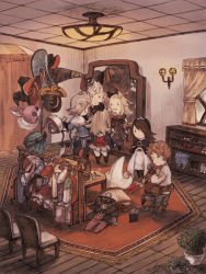 2boys 3girls aerie_(bravely_default) agnes_oblige blonde_hair bravely_default:_flying_fairy brown_hair clock clothing edea_lee fairy hat long_hair maekakekamen mirror multiple_boys multiple_girls no_nose pompadour ribbon ringabell short_hair smile tagme tiz_oria white_hair wings witch_hat