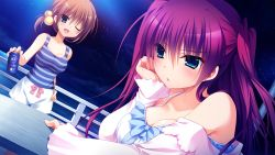 2girls :o ;d bare_shoulders blue_bow blush bow breasts brown_hair cleavage collarbone eyebrows eyebrows_visible_through_hair foreshortening hair_between_eyes hair_bobbles hair_ornament hand_on_hip hand_on_own_cheek hand_up head_rest head_tilt highres holding horizon horizontal_stripes innocent_girl long_hair long_sleeves midou_rino multiple_girls nanaka_mai night night_sky nightgown ocean off_shoulder one_eye_closed open_mouth ousaka_kanae outdoors parted_lips pink_bow purple_hair railing short_hair sky sleeveless smile soda_can star_(sky) starry_sky striped table tank_top tareme water