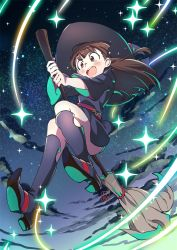 10s 1girl :d akko_kagari bangs blunt_bangs blush boots broom broom_riding brown_hair cloud contrapposto eyebrows_visible_through_hair glowing happy hat kagari_atsuko knee_boots light_particles little_witch_academia long_hair looking_at_viewer night open_mouth red_eyes sky smile solo star_(sky) starry_sky tears thighs ume_(plumblossom) white_background wide_sleeves witch witch_hat