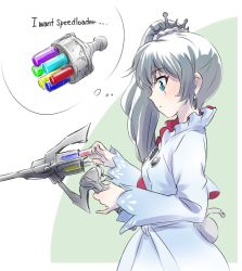 1girl blue_eyes bullet commentary earrings english eye_scar gun hair_ornament handgun iesupa jewelry myrtenaster ponytail revolver rwby solo speech_bubble speedloader thinking weapon weiss_schnee white_hair