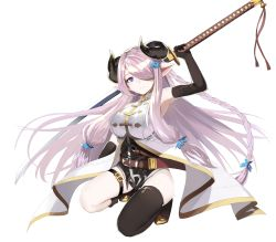 1girl bare_shoulders blue_eyes breasts doraf elbow_gloves fuotchan gloves granblue_fantasy horns katana kneeling large_breasts lavender_hair narumeia_(granblue_fantasy) pointy_ears single_thighhigh solo sword thigh_strap thighhighs weapon