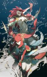 1boy 1girl bangs breasts brother_and_sister fins fish_girl hair_ornament highres jewelry long_hair looking_at_viewer mipha monster_boy monster_girl multicolored multicolored_skin muscle no-kan no_eyebrows ponytail red_hair red_skin siblings sidon smile the_legend_of_zelda the_legend_of_zelda:_breath_of_the_wild white_skin zora