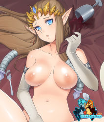 1girl blue_eyes breasts brown_hair cup elbow_gloves female fork hizzacked long_hair looking_at_viewer navel nintendo nipples pointy_ears princess_zelda solo the_legend_of_zelda twilight_princess