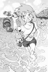 1girl artist_name aureo bag balancing beach feet fishing fishing_rod freckles greyscale highres holding holding_fishing_rod innertube kasumi_(pokemon) midriff monochrome ocean palm_tree poke_ball pokemon pokemon_(creature) popplio psyduck seal shirtless shoes shoes_removed shorts shoulder_bag smile soles tree wading walking water