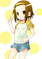 1girl blush brown_eyes brown_hair headband highres k-on! looking_at_viewer miiyon open_mouth shirt short_hair short_sleeves shorts smile solo t-shirt tainaka_ritsu v