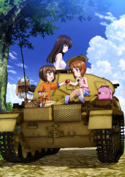 1boy 3girls :t absurdres arm_support basket black_eyes black_hair box brown_eyes brown_hair cardboard_box carrying carrying_over_shoulder casual caterpillar_tracks cloud cup eating eye_contact family food from_behind girls_und_panzer ground_vehicle happy hatch highres long_hair looking_at_another looking_back military military_vehicle mother_and_daughter motor_vehicle multiple_girls nishizumi_maho nishizumi_miho nishizumi_shiho nishizumi_tsuneo obentou official_art onigiri open_mouth pants pants_rolled_up panzerkampfwagen_ii picnic picnic_basket profile reaching_out riding road scan seiza short_hair siblings sisters sitting sky sleeveless sleeves_rolled_up smile spring_onion tank tank_top thermos translation_request tree vehicle wrapped_obentou younger