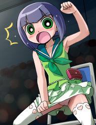1girl angry armpits black_hair blush cameltoe embarrassed green_eyes haruyama_kazunori matsubara_kaoru panties powerpuff_girls powerpuff_girls_z short_hair sweat thighhighs underwear