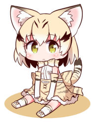 1girl :< animal_ears bare_shoulders between_legs blonde_hair blush bow bowtie cat_ears cat_tail chibi cross-laced_clothes elbow_gloves expressionless eyebrows_visible_through_hair frilled_skirt frills full_body gloves hand_between_legs kemono_friends looking_at_viewer multicolored_hair naga_u pocket ribbon sand_cat_(kemono_friends) sanpaku shadow shirt shoe_ribbon short_hair simple_background sitting skirt sleeveless sleeveless_shirt socks solo streaked_hair striped striped_tail tail tareme white_background white_shirt yellow_eyes
