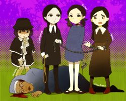 5girls addams_family agatha_(paranorman) bandage black_eyes black_hair blood bloody_weapon braid capelet character_name child crossover dark_skin death dress english esther_(orphan) female franken_fran freckles glasses green_background habit hammer hat long_hair lying madaraki_veronica mary_janes multiple_girls noose nun open_mouth orphan pantyhose paranorman purple_background purple_eyes satoma_(tarumy) scar short_hair sister_abigail_(orphan) standing stitches sweatdrop tears twin_braids twintails weapon wednesday_addams worried